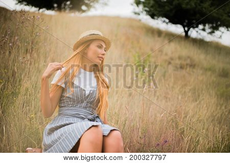 Young Woman On Grassland