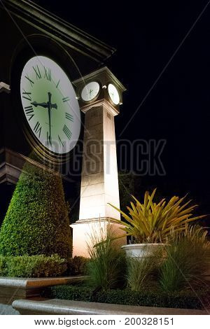 Double exposure of Clock tower in Thailand,Mysterious mood