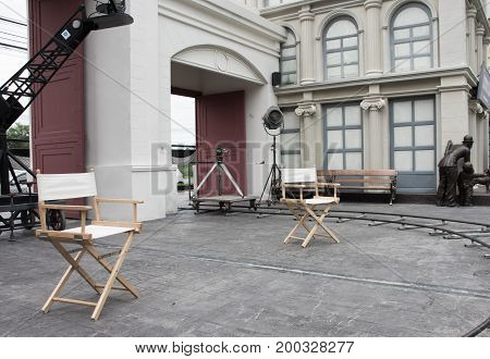 Director chairs in movie set .Chair for the director in vintage scene