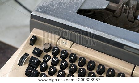 Old White Antique Typewriter With Copy Space For Text. Close Up Of Retro Old Typewriter With Vintage