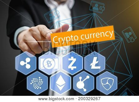 Concept of Business man points his finger at Cryptocurrency