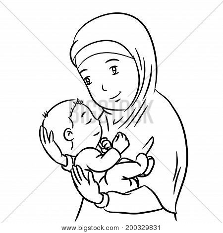 Hand Drawing of a Muslim Mother with demonstration of affection for his son - Vector Illustration