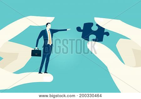 Human hands holding a businessmen and puzzle piece. Solving the problem, challenge concept. Business illustrationBusiness and economy concept illustration