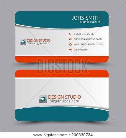 Business card. Design set template for company corporate style. Vector illustration. Green and red color.