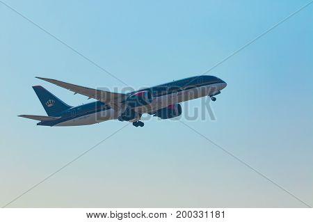 BANGKOK THAILAND - FEBRUARY 112017 : boeing 737 dreamliner plane of rayal jordanian airline departure from suvarnabhumi airport bangkok thailand
