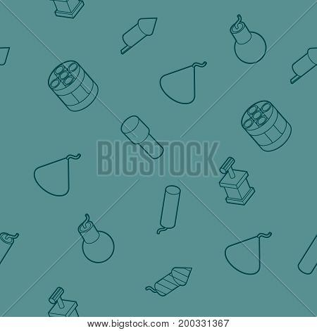 Pyrotechnics color outline isometric pattern. Vector illustration, EPS 10