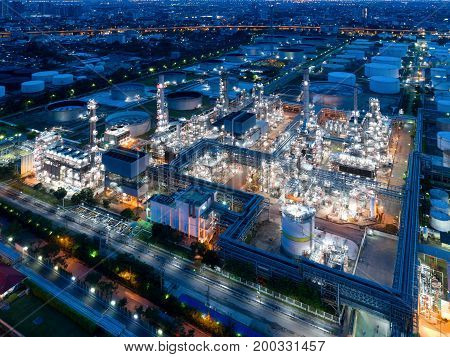 Aerial view of twilight of oil refinery Shot from drone of Oil refinery and Petrochemical plant at dusk Bangkok Thailand