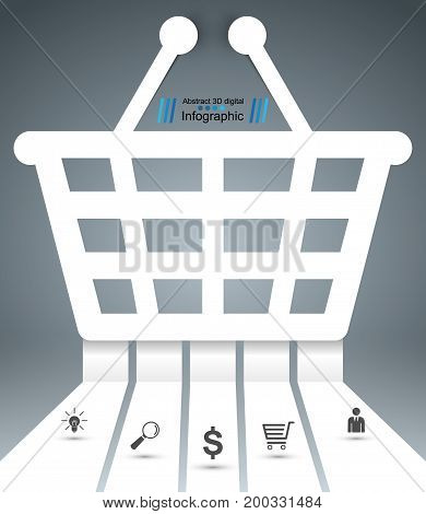 Paper vector origami style infographic. Cart, shop icon