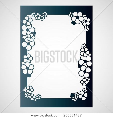 Openwork frame with flowers. Laser cutting template for decorations cards interior decorative elements.