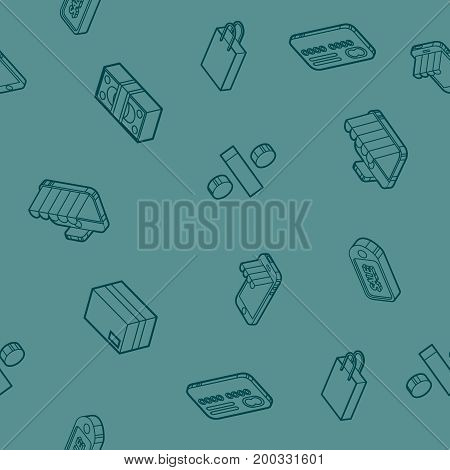 Shopping color outline isometric pattern. Vector illustration, EPS 10