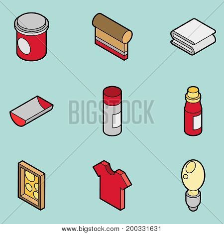 Silkskreen color outline isometric icons . Vector illustration, EPS 10