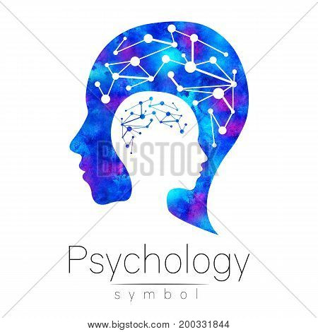 Modern head sign logo of Psychology. Profile Human. Logotype. Creative style. Blue watercolor color isolated on white background.