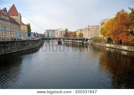 View Landscape And Cityscape Of Riverside Of Spree River In Autumn Seasonal Time With Classical Buil