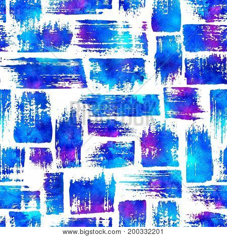 seamless pattern with brush stripes and strokes. Blue pink watercolor color on white background. Hand painted grange texture.