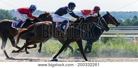 PYATIGORSK,RUSSIA - AUGUST 13,2017: Horse race for the traditional prize of Big Summer- the oldest and the largest racecourses in Russia.