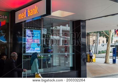Brisbane, Australia - July 9, 2017: Medibank is Australia's second largest private health insurance provider. This office is in central Brisbane.