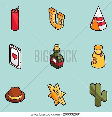 Wild west color outline isometric icons. American Frontier. Vector illustration, EPS 10