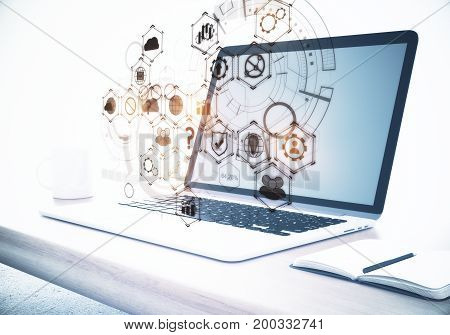 Side view of workplace with laptop computer business chart hologram coffee cup and notepad. Cloud computing concept. 3D Rendering