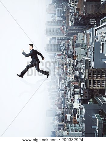 Side view of running businessman on abstract white upside down city background. Growth concept