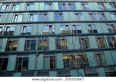 Classic building apartment on beside road at Berlin Germany.