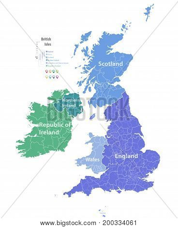 vector high detailed map of British Isles poster