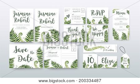 Wedding Invitation invite card Design with forest fern green leaves foliage composition Vector Botanical Template forest elegant cute set collection Anniversary greenery rustic printable nature layout