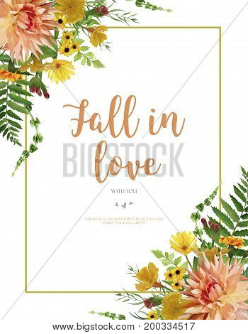 Vector floral design card. Dahlia primrose yellow sunflower flower peach orange garden green forest fern leaves Greeting invitation wedding Rustic cute Frame border poster with text space fall in love
