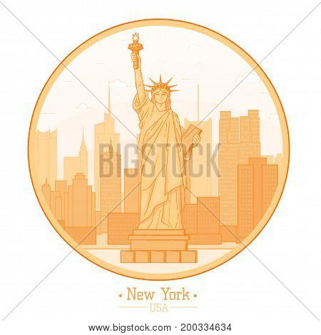 New York city Statue of Liberty symbol of freedom skyline buildings landmarks silhouette vector illustration. Cityscape orange color Line USA nyc modern flat round circle card design travel poster