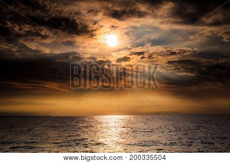 Baltic Sea Sunset Horizon And Cloudy Sky