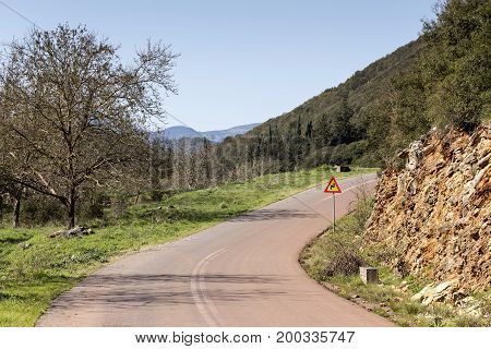 View of a deserted road in the mountains in the country road in the mountains in the countryside