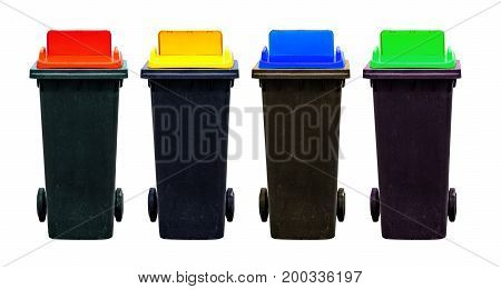 Four color of recycle bins isolated on white background