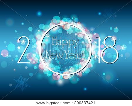 Happy New Year 2018 vector blue background with well organized layers