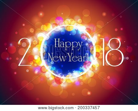 Happy New Year 2018 vector colorful background with well organized layers with space for text