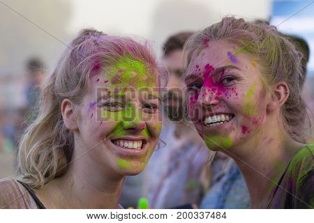 BUDAPEST HUNGARY - AUGUST 15 2017 : Unknown girls is a participants of cultural and music festival Sziget. Sziget Festival the Island of Freedom has ended with the total number of 452.000 Citizens