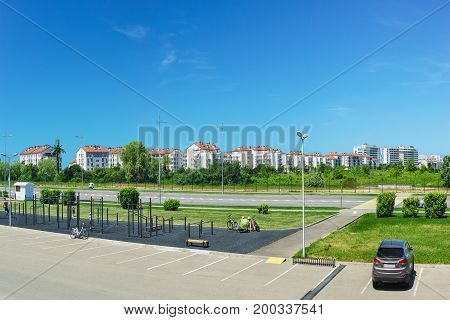 Outdoor Sports Fitness Equipment And Facilities, A Residential District. The Urban Landscape