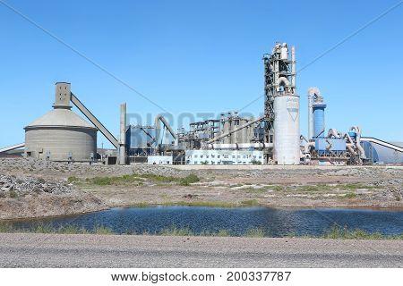 Jambyl cement factory in desert of Kazakhstan