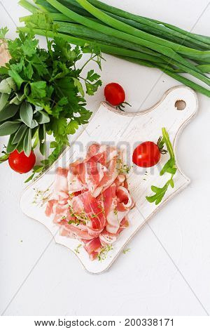 Slices Of Bacon On  A Wooden Board. Flat Lay. Top View