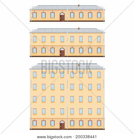 Old Classic Buildings Facades Set isolated on white background