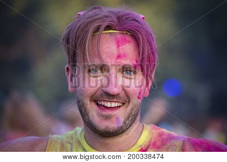 BUDAPEST HUNGARY - AUGUST 15 2017 : Unknown guy is a participant of cultural and music festival Sziget. Sziget Festival the Island of Freedom has ended with the total number of 452.000 Citizens