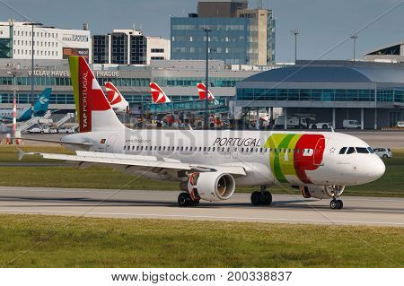 PRAGUE CZECH REPUBLIC - JULY 29: Airbus A320 of TAP Portugal lands to PRG Airport in Prague on July 29 2017.TAP Portugal is the flag carrier airline of Portugal