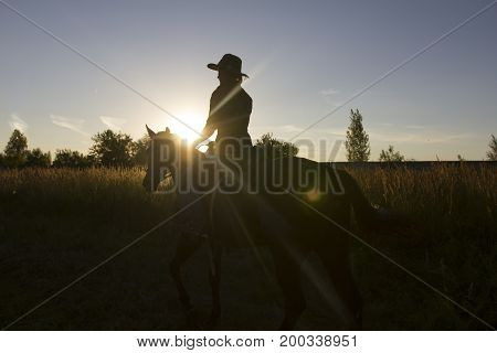 Silhouette of a woman riding a horse in front of sun - sunset or sunrise, telephoto