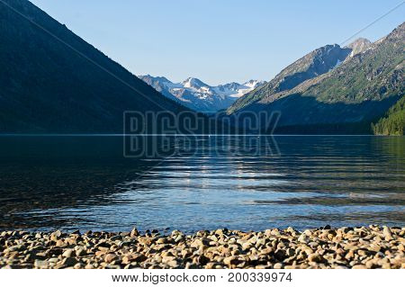 Landscape With The Image Lake And The Mountains In Altai.
