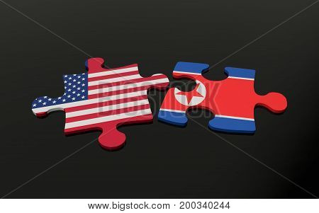 3d illustration. Puzzle pieces with USA and North Korea flags.