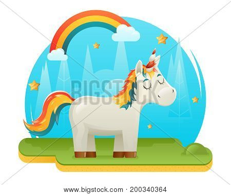 Cute Cartoon Unicorn Fantasy Animal Sweet Dream Magic Rainbow Design Concept Template Glade Forest Background Vector Illustration