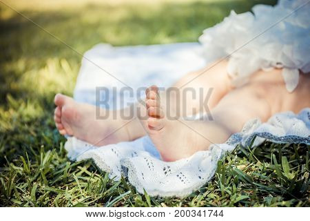 Close-up of the little baby legs on a green grass in the park