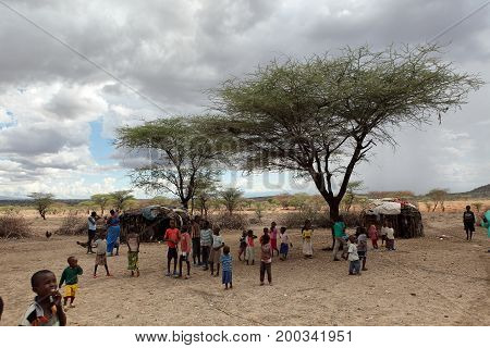 Children of Samburu in a village in Kenya, 12. October 2012