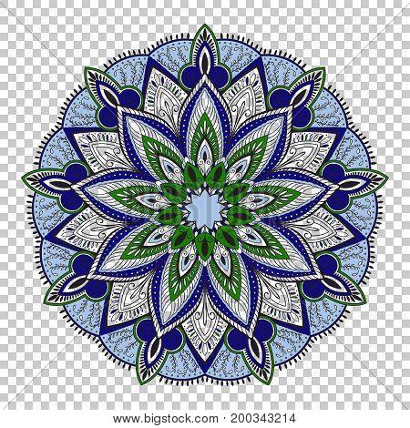 Vector mandala on transparent background, colorful illustration