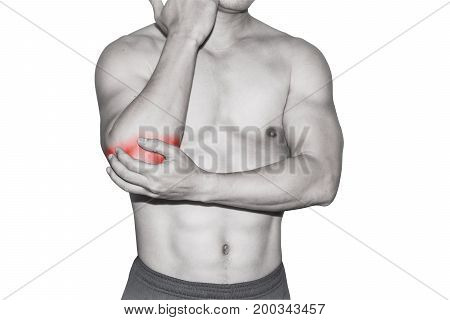 adult male elbow pain concept healthcare isolated