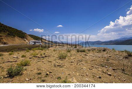 Camper Lonly  In Lake Landscape In Albania