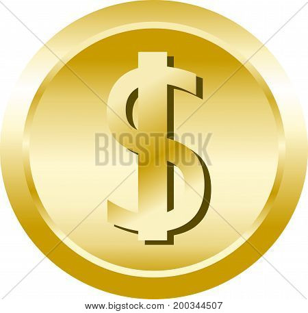 Vector dollar coin virtual digital currency illustration on white.